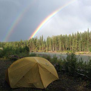 tent under rainbows