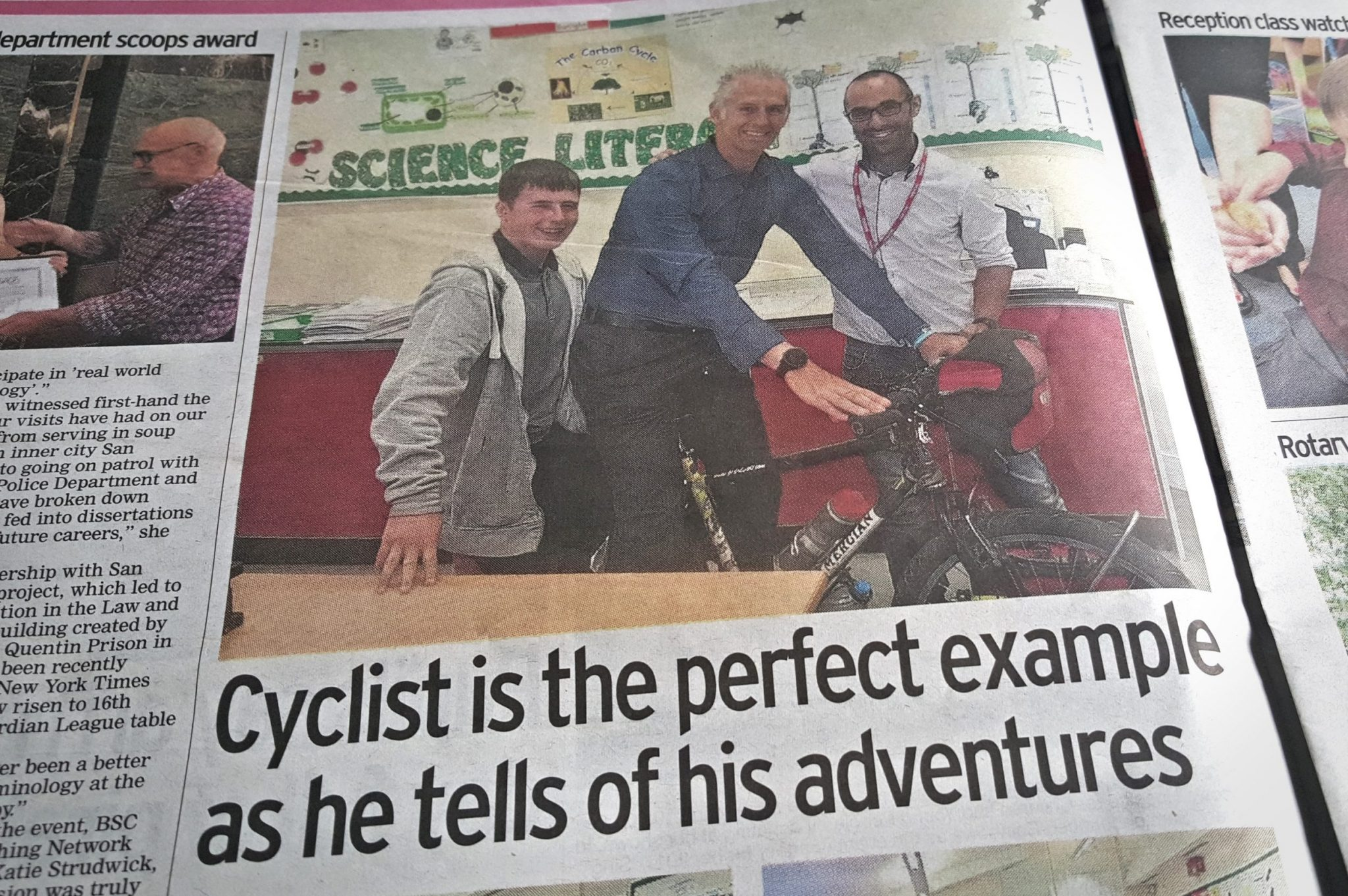 Leigh Timmis round the world cyclist newspaper